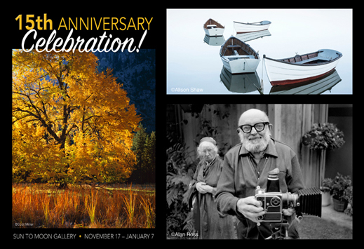 15th Anniversary Celebration at Sun to Moon Gallery, Dallas, TX. 40+ prints by 12 photographers!