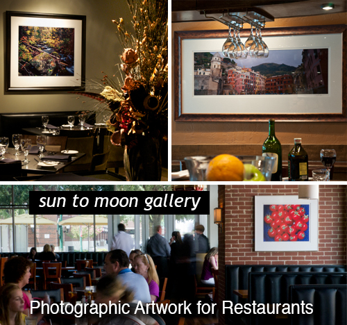 Photographic Artwork for Restaurant Decor  by Sun to Moon Gallery, Providing customized restaurant packages,  from single locations to multi-national chains