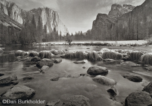 Yosemite platinum/palladium fine print by Dan Burkholder, at Sun to Moon Gallery, Dallas, TX