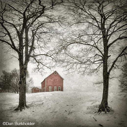 Archival Pigment Print of Red Barn in Snow by Dan Burkholder, at Sun to Moon Gallery, Dallas, TX