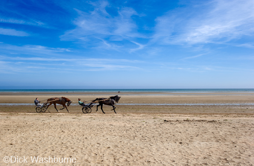 Hoses on Normandy Beach by Dick Washburne, Fine print available at Sun to Moon Gallery