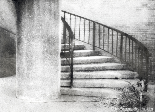 Stairs and Grass Bromoil Print by Jill Skupin Burkholder, Sun to Moon Gallery