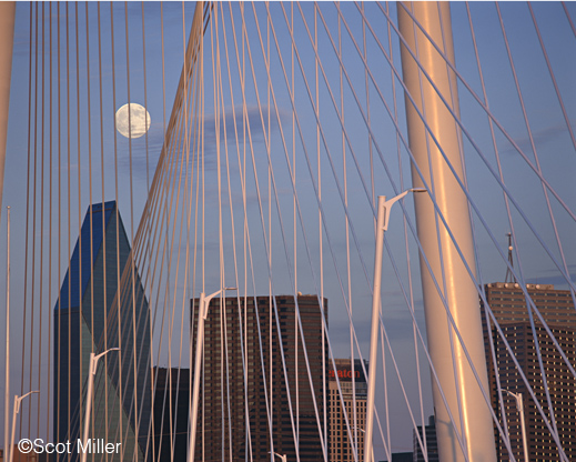 Photograph of the Margaret Hunt Hill Bridge, Dallas, TX by Scot Miller, at Sun to Moon Gallery