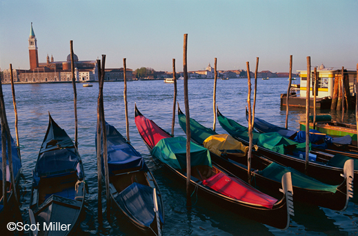 Fine photographic print of Venice, Italy gondolas by Scot Miller, at Sun to Moon Gallery
