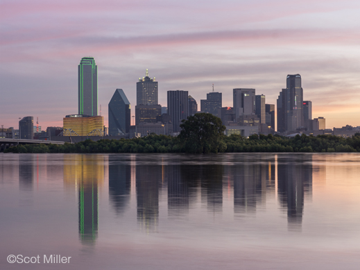 Fine photographic print of downtown dallas and flooded Trinity River by Scot Miller, at Sun to Moon Gallery, Dallas, TX