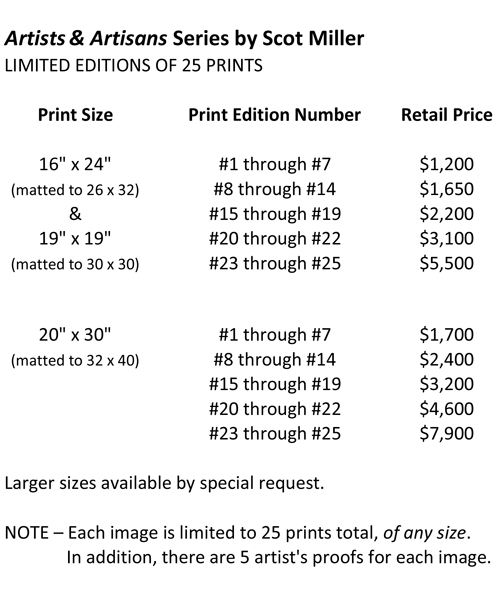 Pricing for Artists & Artisans Limited Ediiton Prints by Scot Miller
