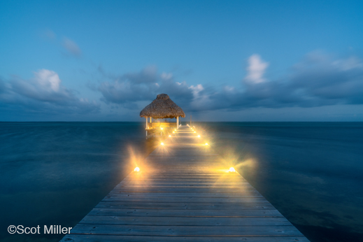 Dock at dawn at La Perla del Caribe, photo by Scot Miller